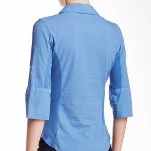 James Perse Tops - James Perse M/L Contrast Ribbed Surplus Shirt